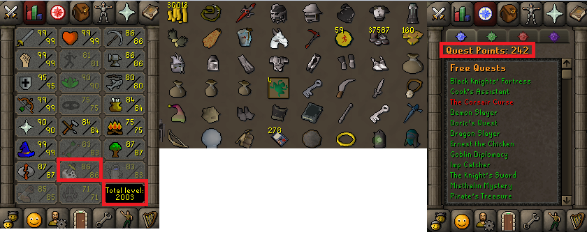 OSRS account combat level 124 ID#20190423LWSB124