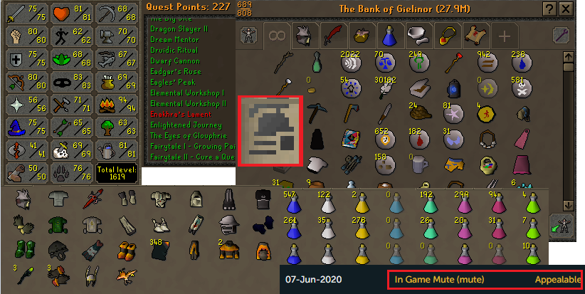 OSRS ironman account combat level 96 ID#20200608LW96