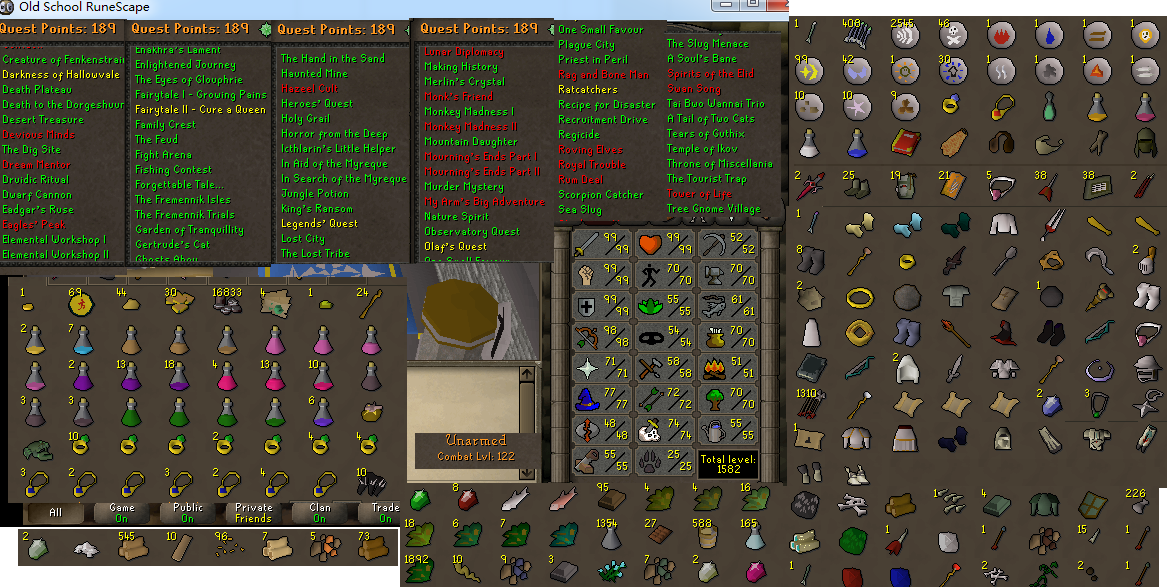 Combat 122 Old School Runescape Account For Sale Id 20170510LW122 With 99 Attack Strength Defense