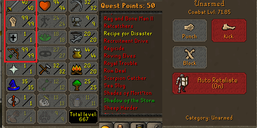 OSRS account combat level 71 ID#20210119TD71B