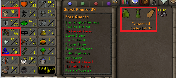 OSRS account combat level 97 ID# 20190715SB97