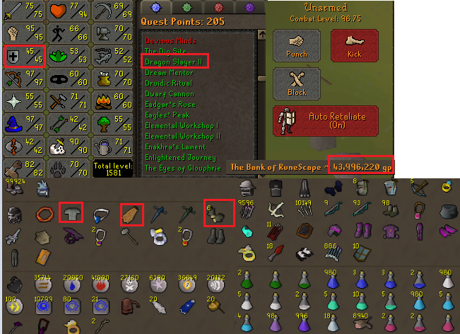 OSRS account combat level 96 ID# 20190330LW96