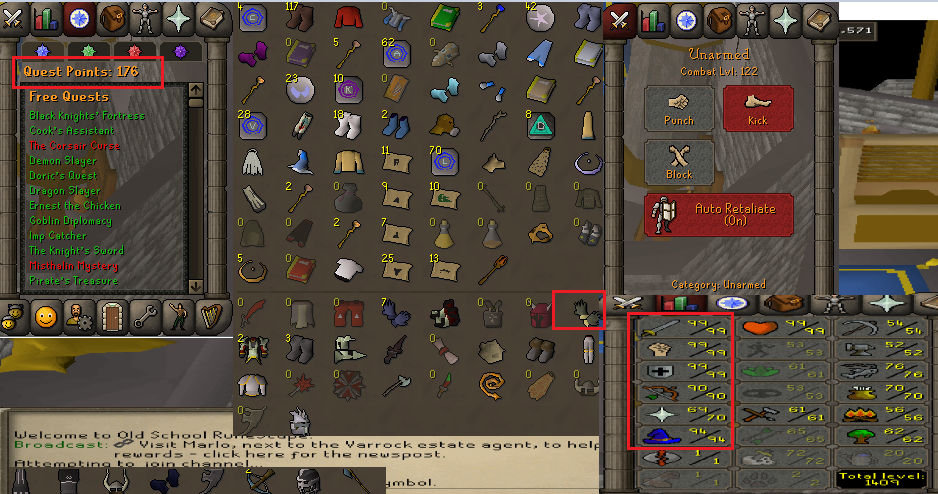 OSRS account combat level 122 ID#20200914SB122