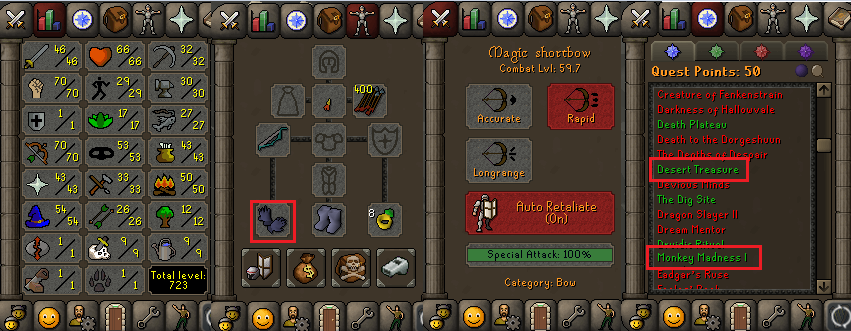 OSRS account special pure combat level 59 ID# 20190706CKJ59