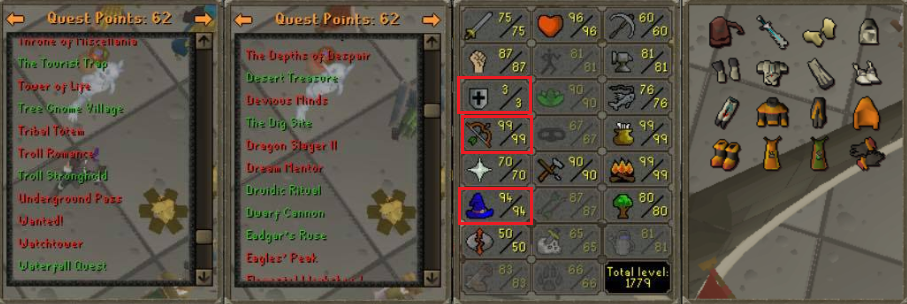 OSRS Account Combat level 86 ID# 20190110LW86