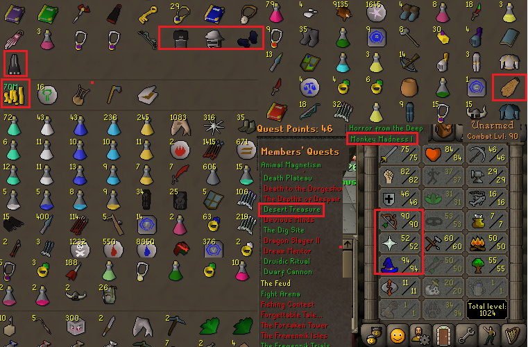OSRS account combat level 90 ID# 20190320SB90