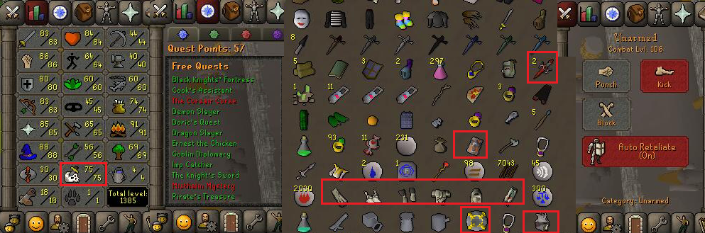 OSRS account combat level 106 ID# 20190605TROY