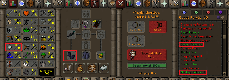 OSRS account special pure combat level 71 ID#20200103TD71