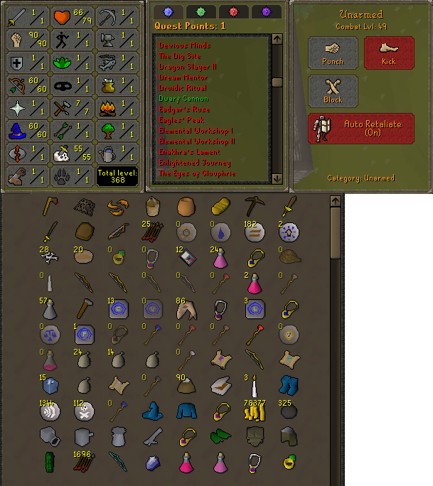 OSRS obby mauler account combat level 49 ID#20200919CKJ49
