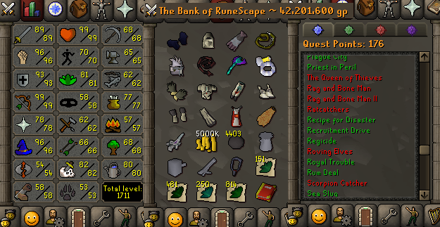 OSRS account combat level 117 ID#20190621LW117