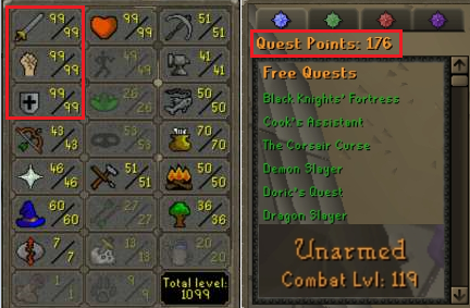 OSRS account combat level 119 ID#20190823TD119C