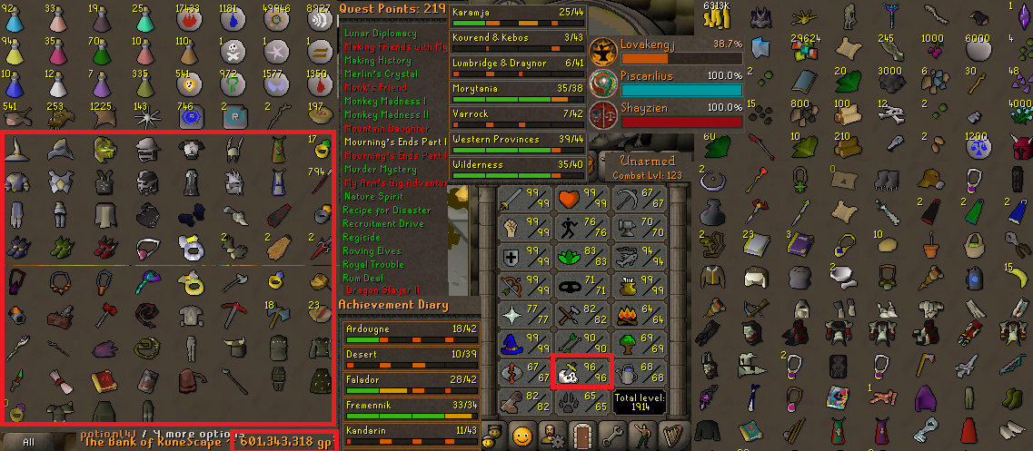 OSRS account combat level 123 ID#20190411LW123