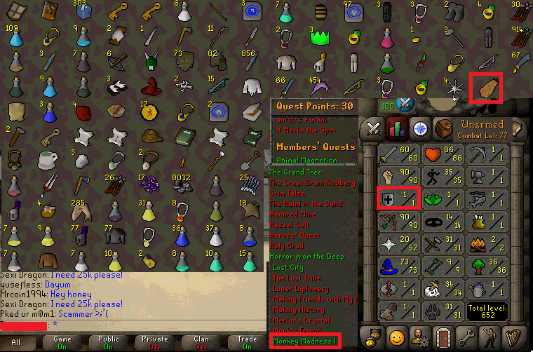 OSRS account combat level 77 ID# 20190210SB77
