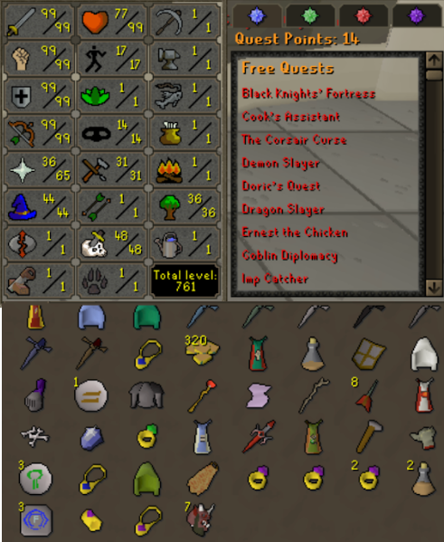 OSRS account combat level 121 ID# 20191206TD121