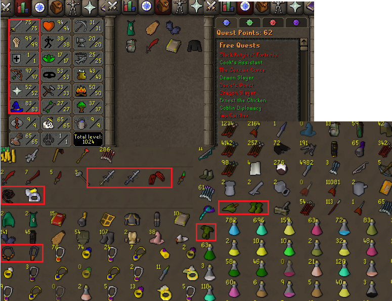 OSRS account combat level 86 ID# 20200105SB86