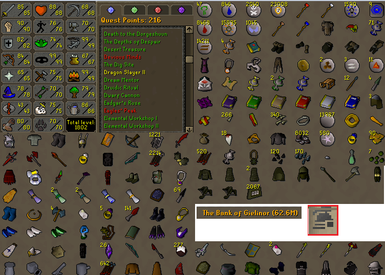 OSRS Ironman account combat level 107 ID#20200107LW107
