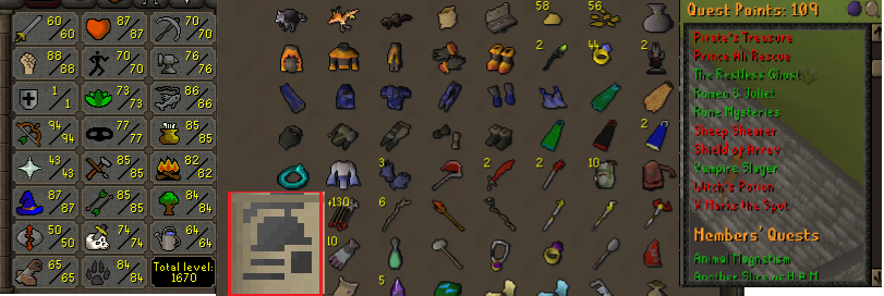 OSRS ironman account combat level 75 ID# 20190902LW75