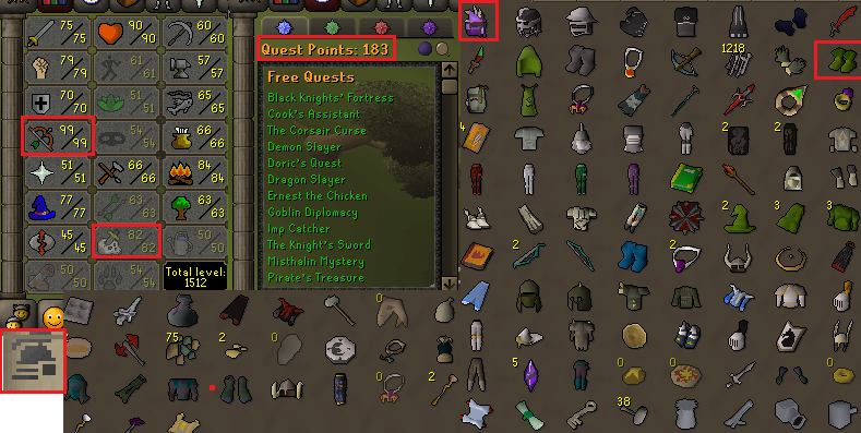 OSRS ironman account combat level 96 ID#20190925LW96