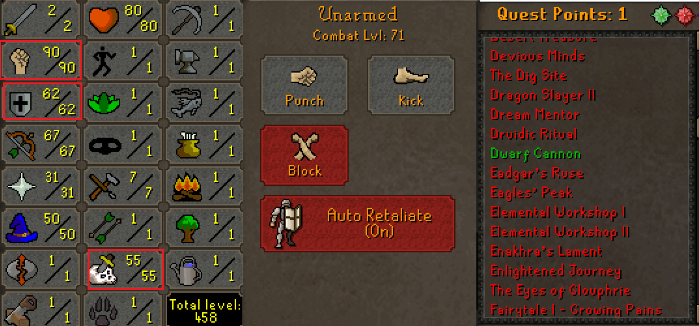 OSRS account combat level 71 ID# 20190212CKJ71
