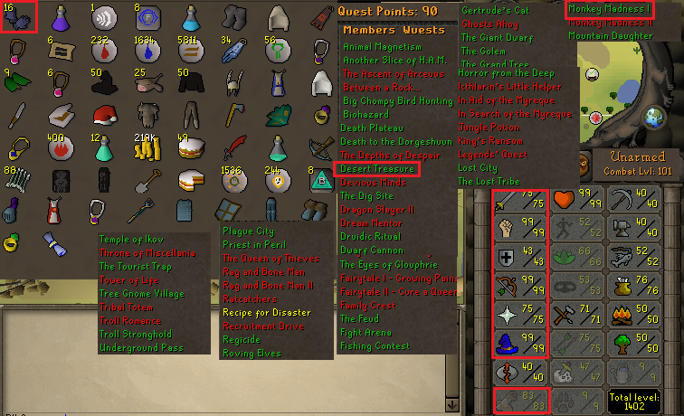 OSRS account combat level 101 ID# 20190428LW101